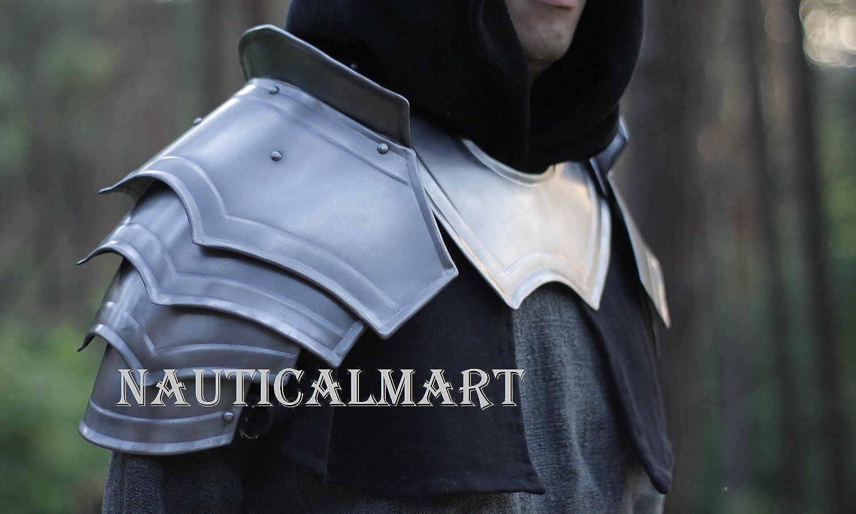 NAUTICALMART Medieval LARP Armor Gorget with Pauldrons