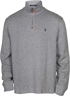 Men's Half Zip French Rib Pony Logo Cotton Pullover...