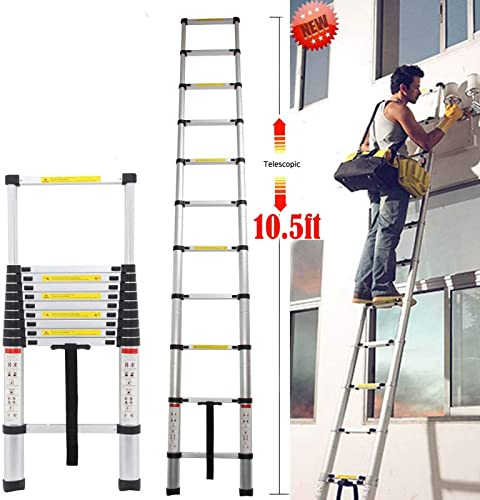 2021 10.5ft Telescoping Extension discount Folding Ladder high quality Aluminum Extendable 11 Steps Heavy Duty 330lb Max Capacity Non-Slip Rubber Feet online