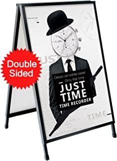 T-SIGN Heavy Duty Slide-in Folding A-Frame Sidewalk Sign 24 x 36 Inch Black Coated Steel Metal Double-Sided, 2 Corrugated Plastic Poster Boards
