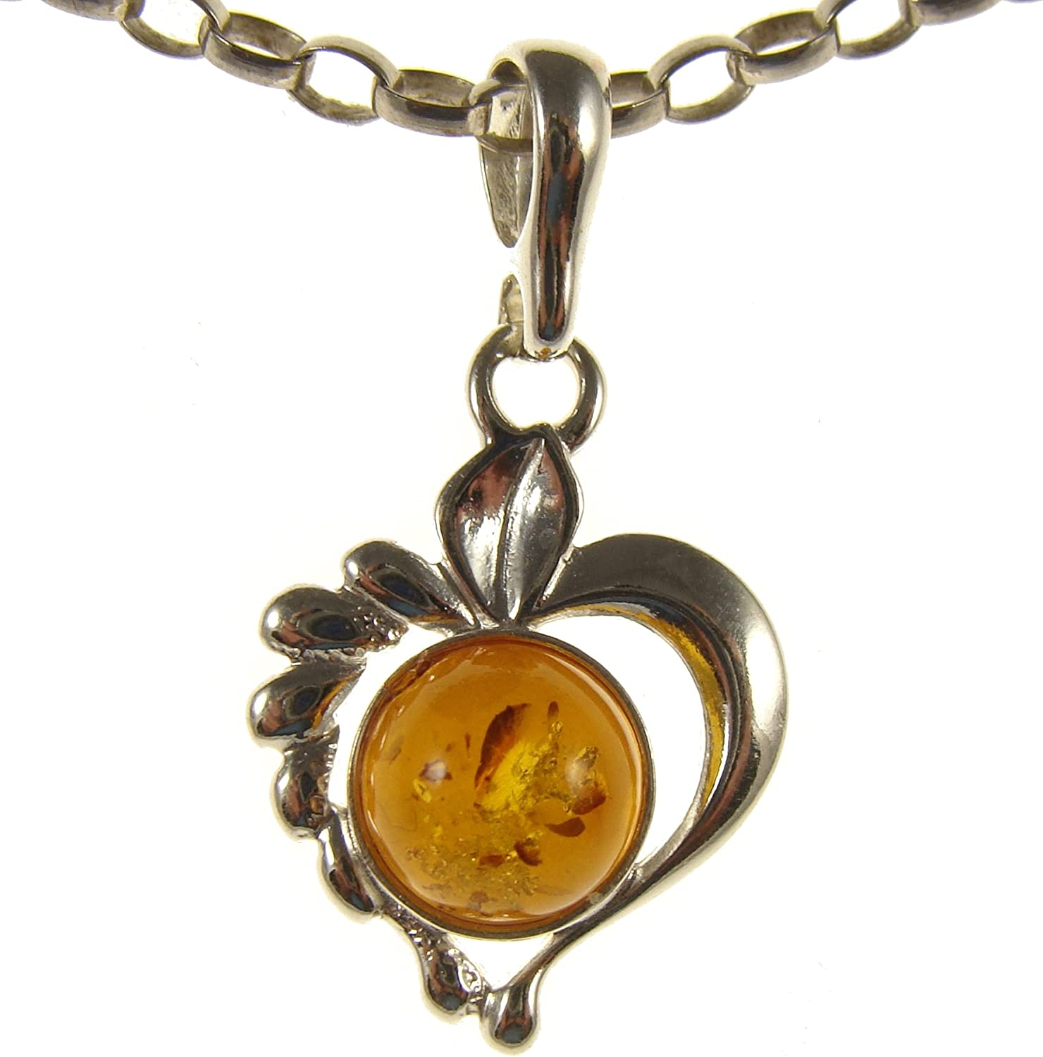 14 16 18 20 22 24 26 28 30 32 34 1mm ITALIAN SNAKE CHAIN BALTIC AMBER AND STERLING SILVER 925 HEART PENDANT NECKLACE