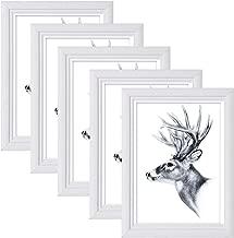 5er Set 13x18cm Bilderrahmen Artos Stil Holz Rahmen Fotogalerie Glasscheibe Weiß, 9410-5