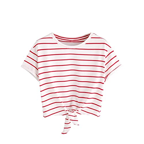 9f544a647c6 Romwe Women's Knot Front Cuffed Sleeve Striped Crop Top Tee T-Shirt