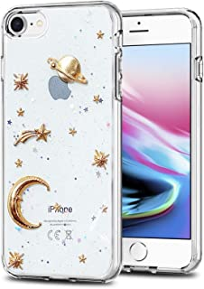 Liquid case for iPhone 6/6 Plus/iPhone 7/7 Plus/iPhone 8/8 Plus/iPhone x/10 Luxury Bling Glitter Sparkle Stars Case with Screen Protector (Star Glitter Clear, iPhone 7/8 (4.7 inch))