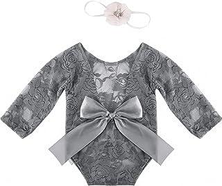 Qiraoxy Dziecięca fotografia rekwizyty kostiumy, 2 szt. noworodka koronka śpioszki opaska zestaw wstążka kokarda body stro...