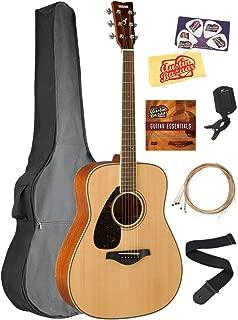 Yamaha FG820L Left-Handed Solid Top Folk Acoustic Guitar - Natural Bundle with Gig Bag, Tuner, Strings, Strap, Austin Bazaar Instructional DVD, Picks, and Austin Bazaar Polishing Cloth