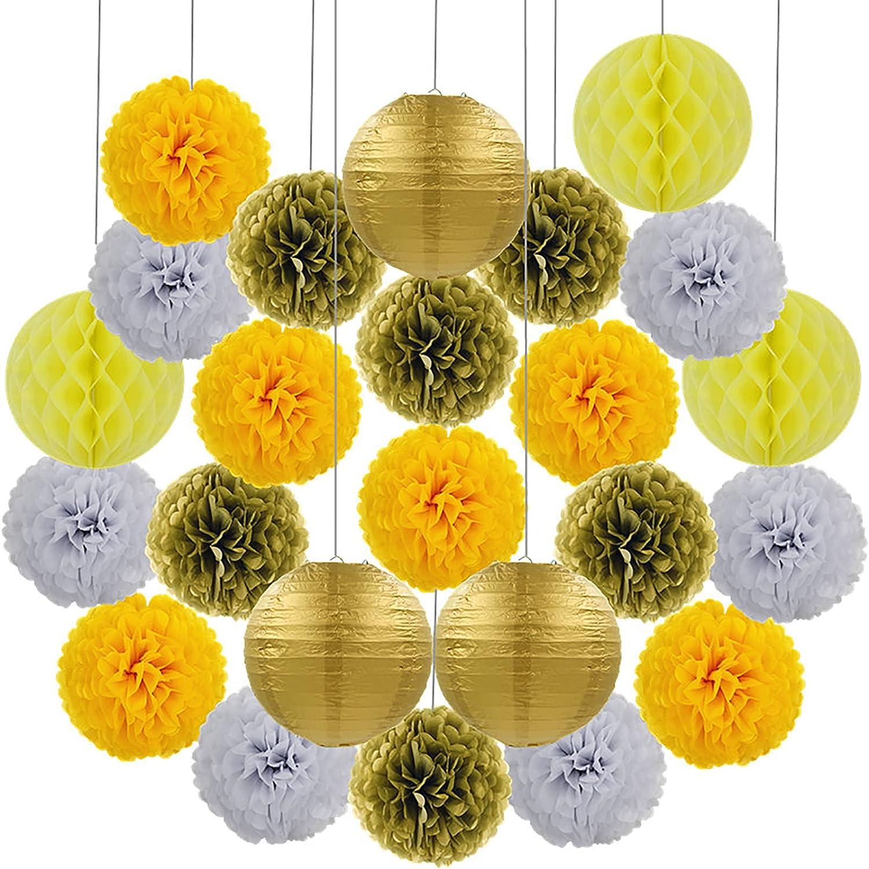 23PCS Linternas de Papel Flores de Papel Combinación de Bolas de Nido de Abeja Linterna Redonda Globo Decoraciones Colgantes Pantalla de lámpara para decoración del hogar Fiestas y Bodas