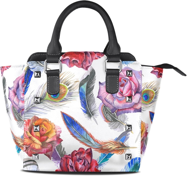 My Little Nest Women's Top Handle Satchel Handbag Watercolor Bird Feather Flower Ladies PU Leather Shoulder Bag Crossbody Bag