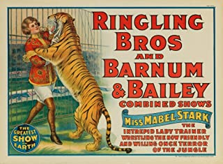 Ringling Bros and Barnum and Bailey - Miss Mabel Stark Vintage Poster USA c. 1924 (9x12 Fine Art Print, Home Wall Decor Artwork Poster)