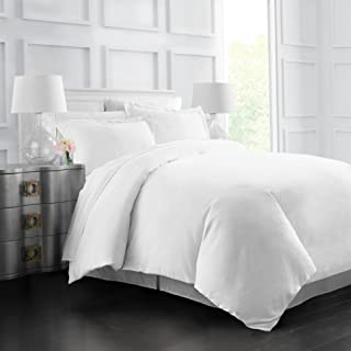 Italian Luxury Soft Brushed 1500 Series Microfiber Duvet Cover Set, Hotel Quality and Hypoallergenic with Zippered Closure and Matching Shams -Full/Queen - White