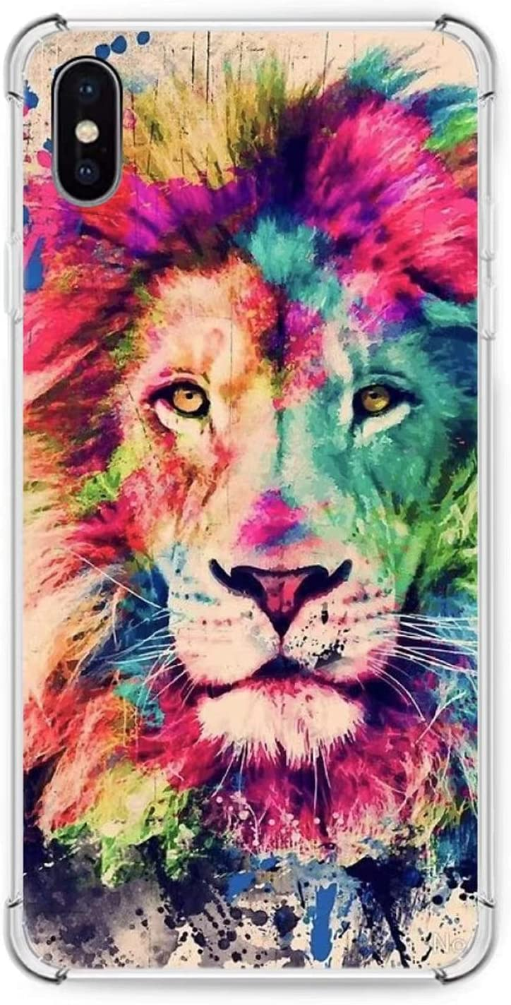 iPhone Xs/X Phone Case, Colorful Lion Case for iPhone Xs/X, Cute Animal Silicone TPU Bumper Case, Slim Fit Anti Scratch Protective Cover Case for iPhone Xs/X