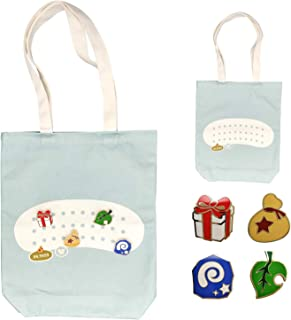Animal Crossing Cotton Shopping Tote Bags with 4 Pins: Leaf, Bell Bag, Fossil, Gift Box