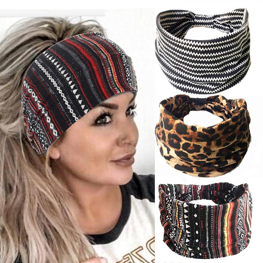 Catery Boho Headbands Cheetah Print Bow Headband Stretch Wide Head Wrap Leopard Twist Hair Bands Stripe Cloth Turban Knotted Head Band for Women and Girls Pack of 3