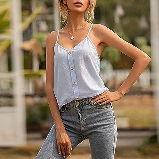 Leepesx Women Spaghetti Shoulder Straps Vest V Ne Sleeveless Holiday Beach Casual Ca sole