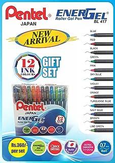 Pentel Energel 0.7mm Metal Tip Roller Gel Pen Set - Pack of 12 (Multicolour)