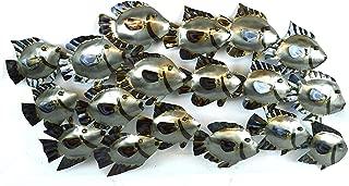 HUGE BEAUTIFUL UNIQUE silver NAUTICAL SCHOOL OF FISH METAL WALL ART