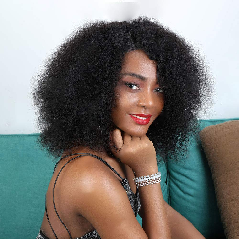 360 Afro Kinky Curly Lace 5 ☆ popular Front Fake Max 47% OFF Cap Small Wig Scalp Natural