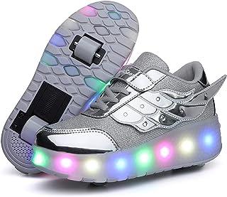 LED Zapatillas con Luces Ruedas Automática Retráctiles Ruedas Ajustables Zapatos de Skate Roller Deportivos Zapatos Lumino...