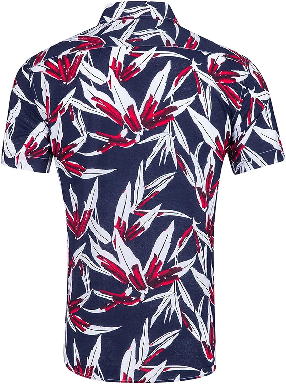 Men's 100% Cotton Hawaiian Shirt Quick Dry Tropical Aloha Shirts Short Sleeve Beach Holiday Casual Shirts
