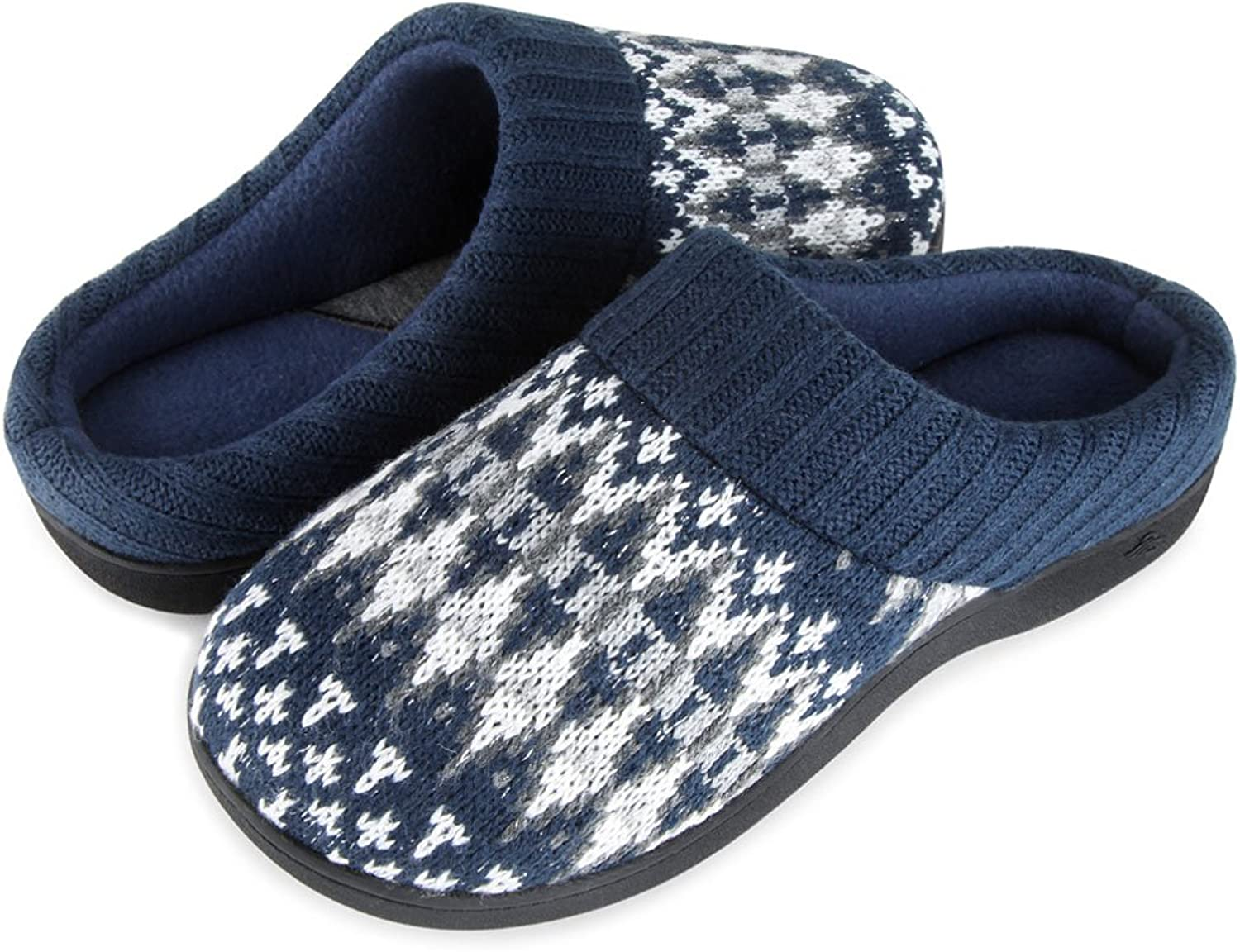 Wishcotton Zigzagger Womens Breathable Knit Memory Foam Indoor Slippers House shoes with Nonslip Rubber Sole Navy bluee