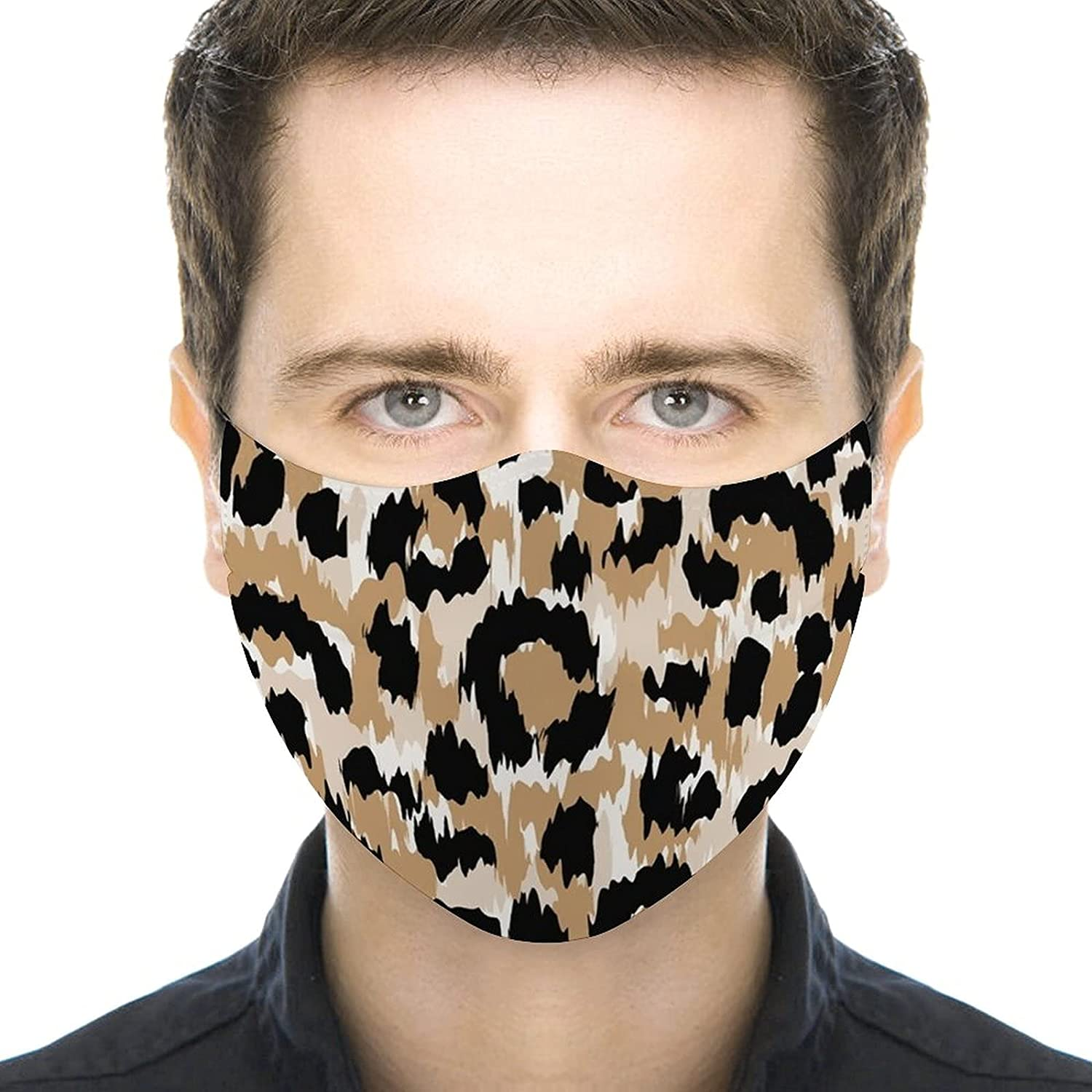 Leopard Face Mask Animal Cheetah Mask Balaclava Washable Reusable Balaclava with 2 Filters for Women Men Youth