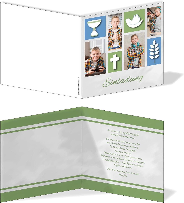 Einladung Einladungskarte Einladungskarte Einladungskarte Konfirmation Bildertanz Blau Grün B07N1SFRW7 | Praktisch Und Wirtschaftlich  e31f2b