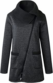 Kulywon Womens Casual Jacket Coat Long Zipper Sweatshirt Outwear Tops