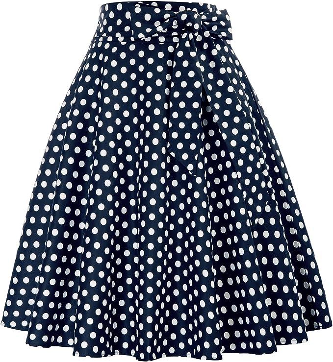 1940s Style Skirts- Vintage High Waisted Skirts Belle Poque Womens High Waist A-Line Pockets Skirt Skater Flared Midi Skirt  AT vintagedancer.com
