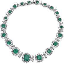 Adastra Jewelry Elizabeth Taylor Inspired Vintage Style Necklace For Women Green Asscher Emerald White Round Marquise Simulated Diamond 14k White Gold Over 925 Sterling Silver Holiday Halloween Gift
