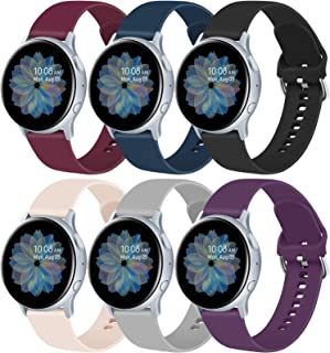 6 Pack Sport Bands for Samsung Galaxy Watch Active 2 40mm 44mm & Active 40mm & Galaxy Watch 3 41mm & Galaxy Watch 42mm, 20mm Soft Silicone Replacement Band for Galaxy Watch Active 2 (B, Large)