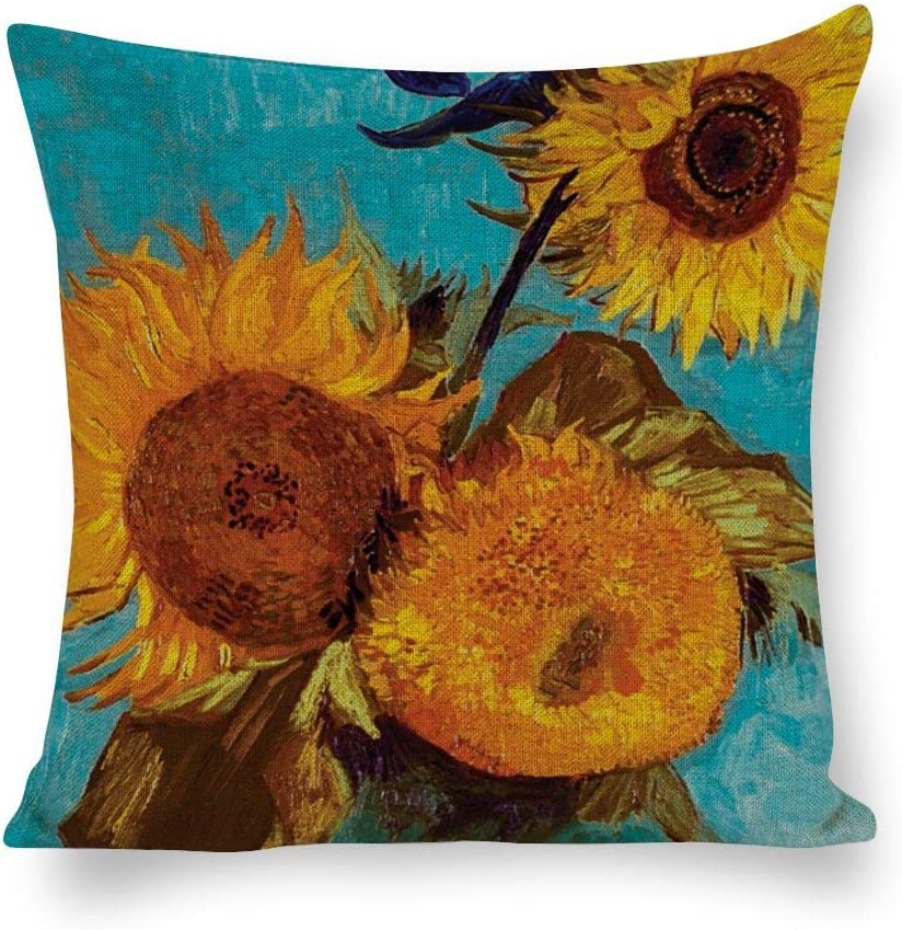 Yilooom Throw Pillow Covers Van Large special price !! Gogh in A Sunflowers Vase Max 63% OFF Three
