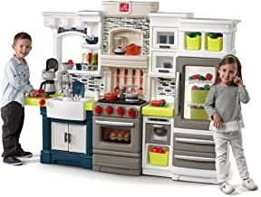 Step2 Elegant Edge Play Kitchen   Large Kids Kitchen Playset with Real Lights & Sounds   Over 70-Pc Play Food & Toy Accessories Set Included