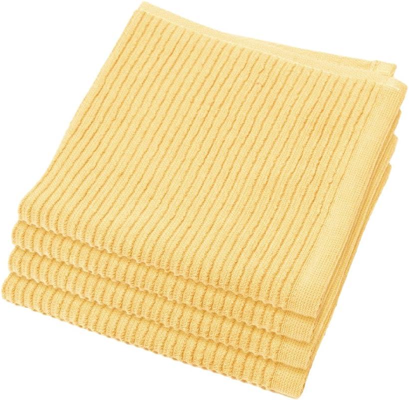 Now Designs Ripple Kitchen Dishcloth Set Of 4 Lemon Yellow