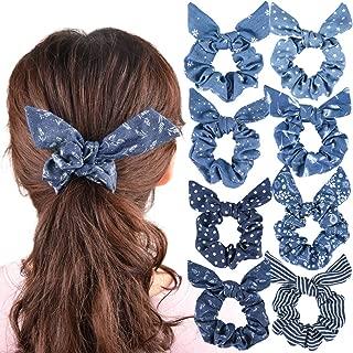 8Pcs Hair Scrunchies Bow Bowknot Women Scrunchies Bunny Ear Scrunchies Hair Ties Cotton Ropes Scrunchy Elastic Ponytail Holder Stripe Polka Dots Flower Hair bands Hair Accessories Blue