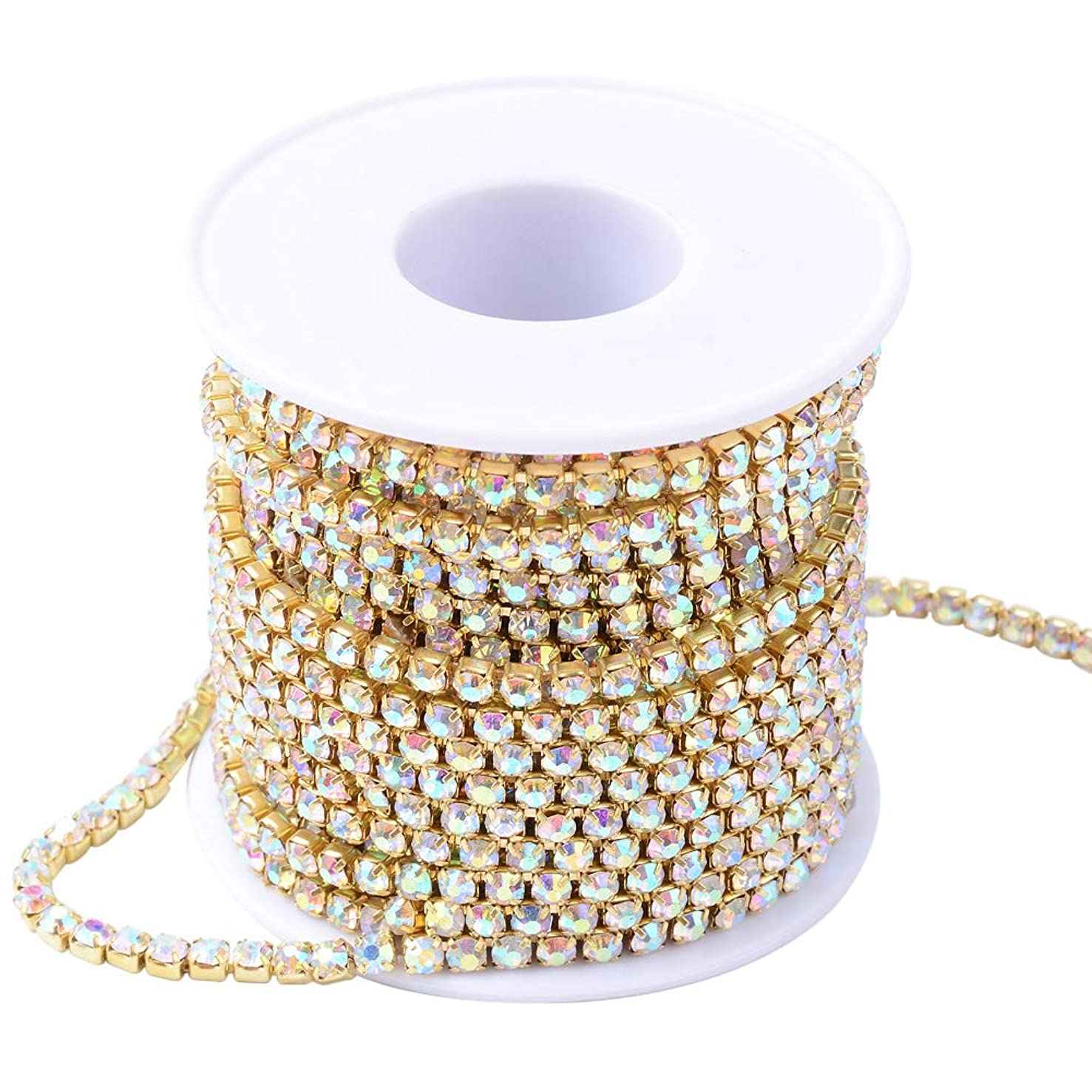 NBEADS 1 Roll of 4mm Clear Rhinestone Diamante Golden Plated Crystal AB Color Chain 10 Yard Lenght for Wedding Supplies DIY Sewing Craft Jewelry Making Party Decorations