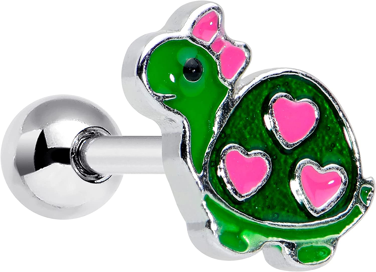 Body Candy 16G Womens Stainless Steel Pink Heart Green Turtle Cartilage Earring Helix Tragus Jewelry 1/4