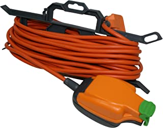 Masterplug Weatherproof Outdoor Single Inline Socket Extension Lead with 'H' Frame Cable Tidy, 15 Metres, Orange