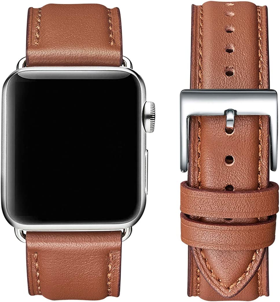 OMIU Square Bands Compatible for Apple Watch 38mm 40mm 42mm 44mm, Genuine Leather Replacement Band Compatible with Apple Watch Series 6/5/4/3/2/1, iWatch SE (Brown/Silver Connector, 38mm 40mm)