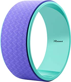 Reehut Strong Yoga Wheel Roller - Designed for Dharma Yoga for Yoga Pose, Stretching & Backbend Training - Includes Pose Guide Card