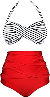 1d13d84a9b LANNORN Femme 2 Pieces Vintage Arc Polka Dot Sexy Bikini Rétro Taille Push  up Maillot De