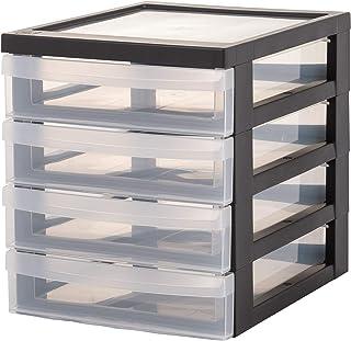 Iris Ohyama, Lot de 2 mini tours de rangement / organiseurs de bureau à 4 tiroirs - Design Chest - DC-A5, plastique, noir/...