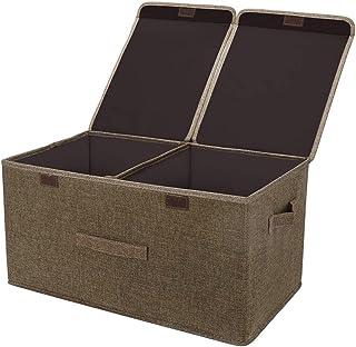 XJZKA Boîte de Rangement Pliable, Deux couvercles, Panier de vêtements d'art en Tissu de Lin Trash Can Toy Box Sac de Rang...
