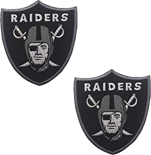 Oakland Raiders Football Team Logo Jacket T-Shirt Patch Embroidered Tactical Military Morale Hook and Loop Fasteners Backing Patches Badge Emblem Sign 3.54 x 3.15 inch 2PCS
