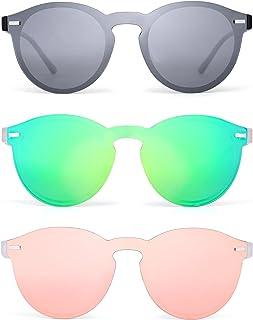 855c997052 Polarizadas Sin Montura Borde Con Cuerno Gafas de Sol Redondas Espejo Una  Pieza Anteojos Para Mujer