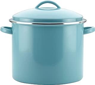 Farberware 46497 Enamel-on-Steel Large Covered Stockpot, 16-Quart, Aqua Blue