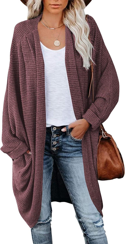Women's Waffle Knit Batwing Long Sleeve Cardigan Oversized Open Front Sweater Coat