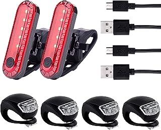 Awpeye 6 Pack Bicycle Light, USB Rechargeable LED Bike Rear Tail Light 2 Pcs & 2 X USB Charging Cables and 4 PCS Front Bike Headlight -Multi-Purpose Waterproof Bike Light
