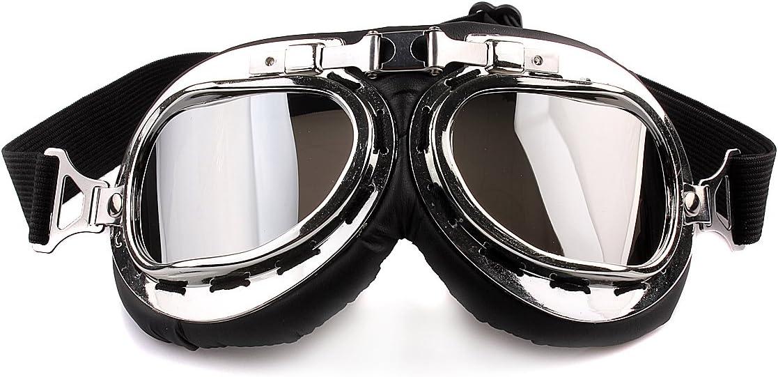 ZUMUii Butterme RAF Pilot Motociclismo Motocross Scooter Cruisers Chopper Moscas Gafas de Seguridad Gafas de Protección Deportiva Sun UV Wind Eye Protect Gafas de Casco(Plata)