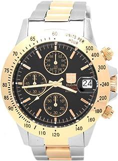 [エルジン]ELGIN 腕時計 クロノグラフ 日本製ムーブメント 200M防水 ブラックxピンクゴールド FK1184PG-B メンズ