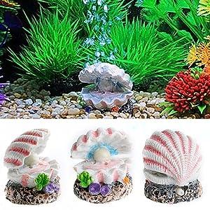 Efanr Cute Shaped Resin Air Bubble Maker Stone Oxygen Pump Fish Tank Ornament Decor Funny Aquarium Landscape Decoration Connect with Air Pump Aerator (Pearl Shell)